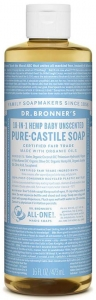 Dr Bronner's 18-In-1 Hemp Baby Unscented Pure Castile Liquid Soap 473ml