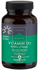 Terra Nova Green Child Vitamin D3 400iu 50 Capsules
